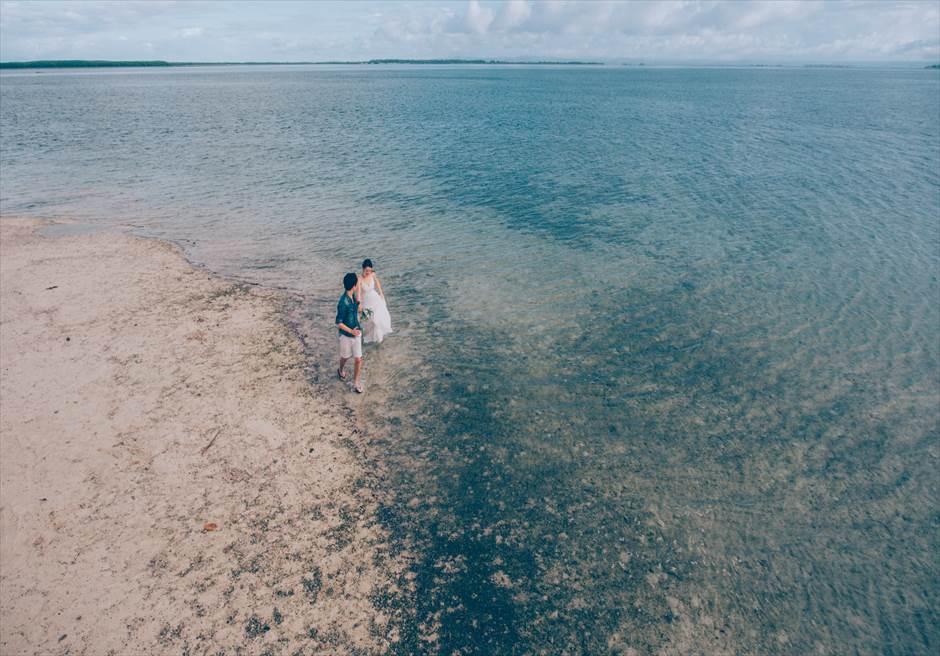 セブの離島でウェディングフォト撮影をドローンで